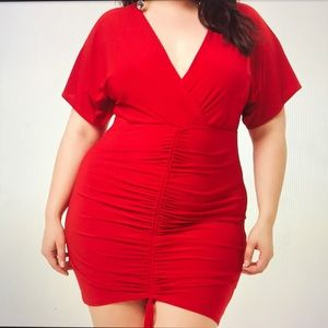Plus Size Surplice Ruched Mini Dress
